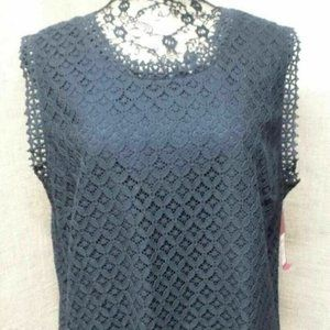 Lace Blouse Black Eyelet Lace Lined Sleeveless Top